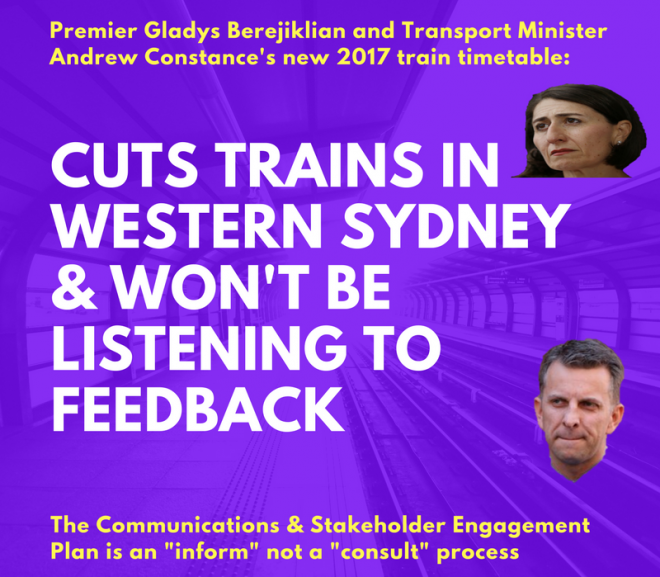 Community Ignored Again with Train Cuts starting on 26 November