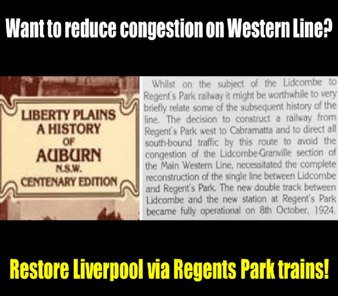 NSW Government Ignoring History of Liverpool via Regents Park Rail