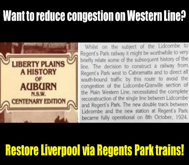 NSW Government Ignoring History of Liverpool via Regents Park Rail